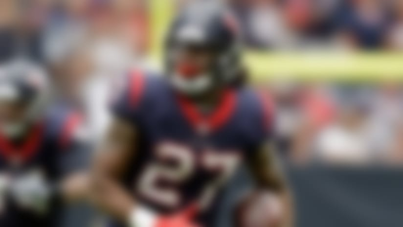 Houston Texans running back D'Onta Foreman (27) runs against the Cleveland Browns during an NFL football game, Sunday, Oct. 15, 2017, in Houston. (AP Photo/Eric Gay)