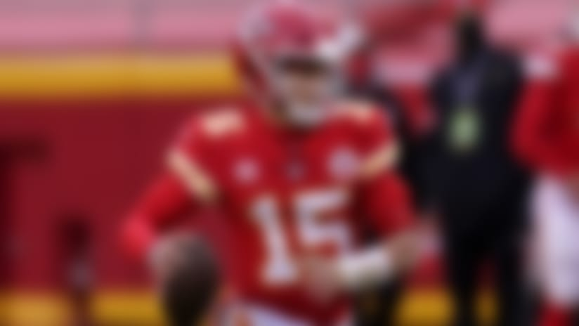 Kansas City Chiefs quarterback Patrick Mahomes throws during the second half of an NFL divisional round football game against the Cleveland Browns Sunday, Jan. 17, 2021, in Kansas City, Mo. (AP Photo/Charlie Riedel)