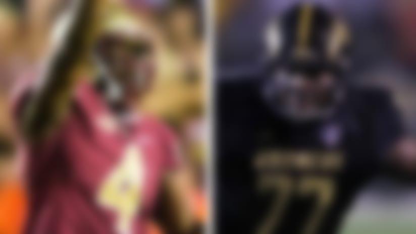 Florida State's Tarvarus McFadden and Western Michigan offensive lineman Chukwuma Okorafor