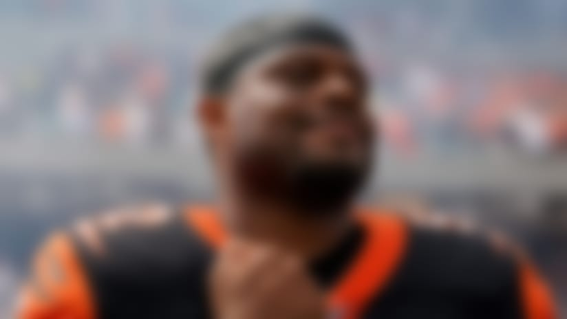 Cincinnati Bengals middle linebacker Preston Brown (52) during the national anthem prior to an NFL football game against the San Francisco 49ers, Sunday, Sept. 15, 2019, in Cincinnati. The 49ers won 41-17. (Aaron Doster via AP)