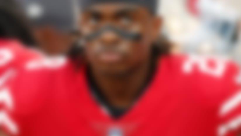San Francisco 49ers running back Jerick McKinnon (28) rests during an NFL preseason football game against the Dallas Cowboys on Thursday, Aug. 9, 2018 in Santa Clara, Calif. (Greg Trott via AP)