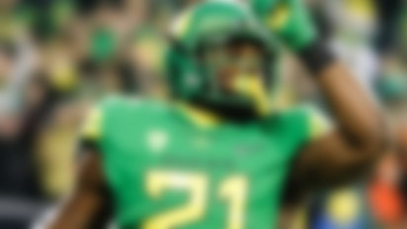 Oregon running back Royce Freeman (21) celebrates a touchdown against Oregon State in an NCAA college football game Saturday, Nov. 25, 2017 in Eugene, Ore. (AP Photo/Thomas Boyd)