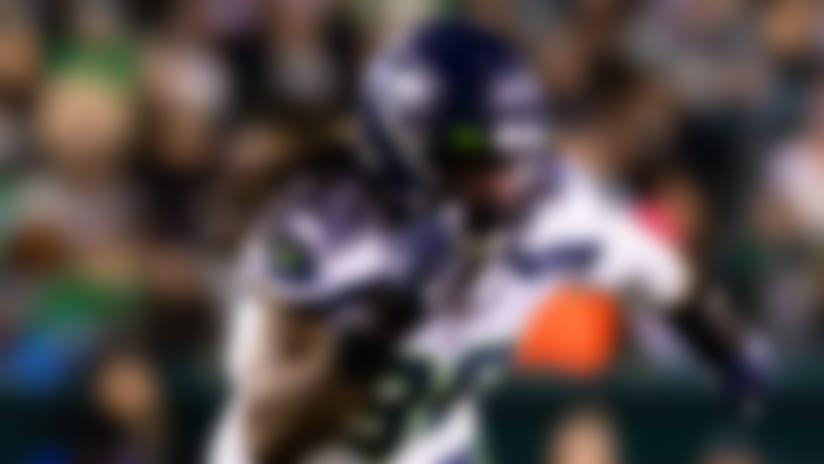Seattle Seahawks defensive end Jadeveon Clowney (90) during an NFL wild-card playoff football game against the Philadelphia Eagles on Sunday, Jan. 5, 2020 in Philadelphia. The Seahawks won, 17-9. (Ric Tapia via AP)