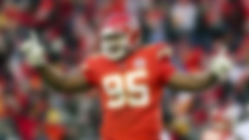 Kansas City Chiefs defensive tackle Chris Jones celebrates in the closing seconds against the Tennessee Titans during an NFL AFC Championship football game, Sunday, Jan. 19, 2020, in Kansas City, Mo. The Chiefs won, 35-24. (G. Newman Lowrance via AP)