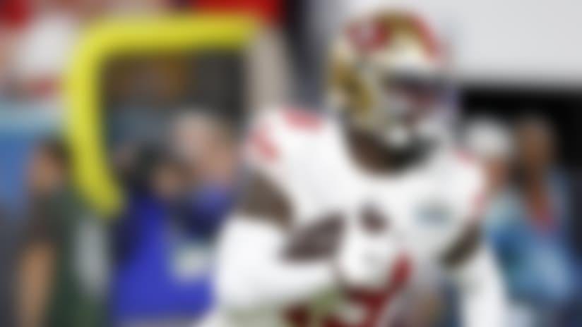 San Francisco 49ers wide receiver Deebo Samuel (19) runs ball during the NFL Super Bowl 54 football game between the San Francisco 49ers and Kansas City Chiefs Sunday, Feb. 2, 2020, in Miami Gardens, Fla ( Tom DiPace via AP)