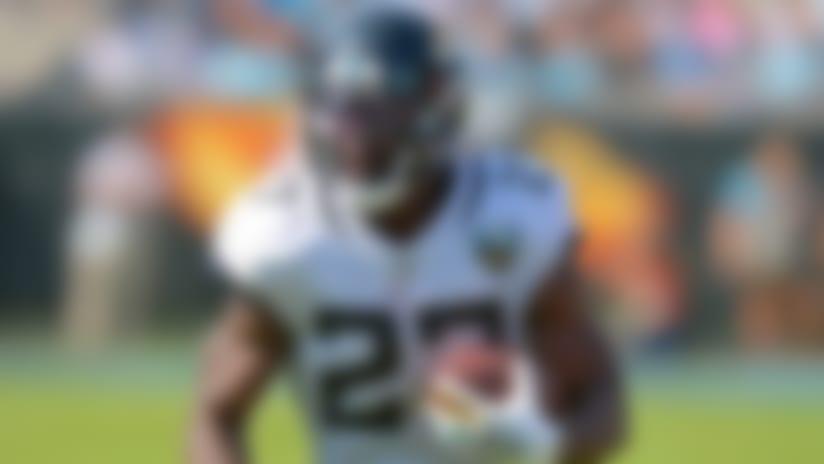 Jacksonville Jaguars running back Leonard Fournette (27) against the Carolina Panthers in an NFL game, Sunday, October 6, 2019 in Charlotte, NC. (Rick Wilson via AP Images)