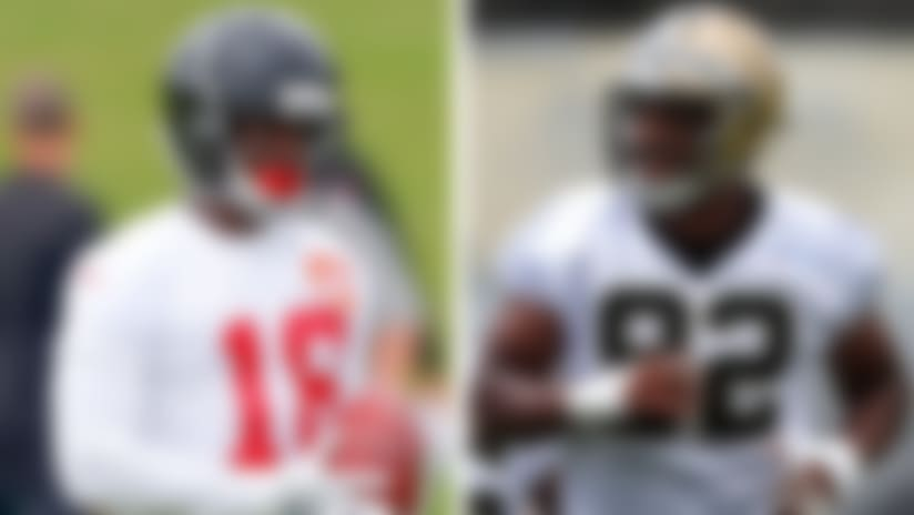 Split spotlight image of Calvin Ridley (Falcons) and Marcus Davenport (Saints) at training.