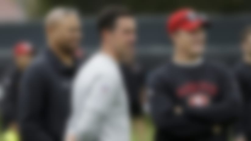 Stanford coach David Shaw (left) endorsed Thomas' potential to make an impact on the rebuild being led by Kyle Shanahan (center) and Lynch (right).