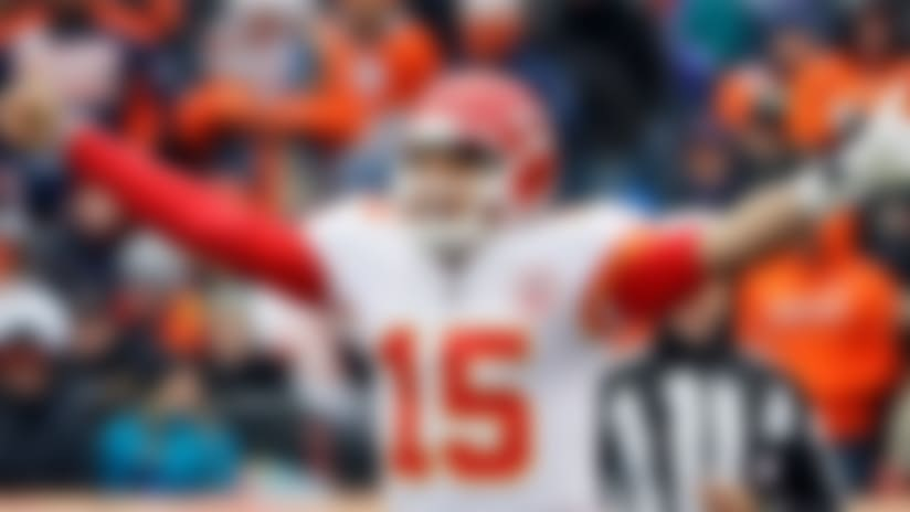 FILE- In this Dec. 31, 2017, file photo, Kansas City Chiefs quarterback Patrick Mahomes (15) signals against the Denver Broncos during the first half of an NFL football game in Denver. The countdown to the Mahomes era in Kansas City is down to six weeks, with no apparent caveats. The Chiefs' trade of Alex Smith to Washington becomes official in March, but already the Chiefs are preparing for life under a new QB.