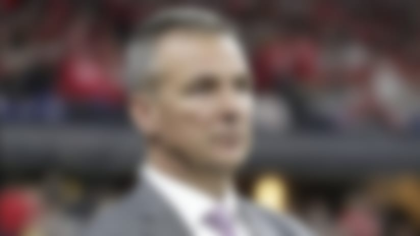 Former Ohio State head coach Urban Meyer watches during the second half of the Big Ten championship NCAA college football game between Ohio State and Wisconsin, Saturday, Dec. 7, 2019, in Indianapolis. (AP Photo/Michael Conroy)