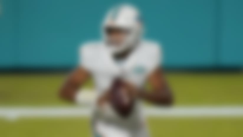 Miami Dolphins quarterback Tua Tagovailoa (1) looks to pass the ball during the second half of an NFL football game against the New York Jets, Sunday, Oct. 18, 2020, in Miami Gardens, Fla. (AP Photo/Lynne Sladky)