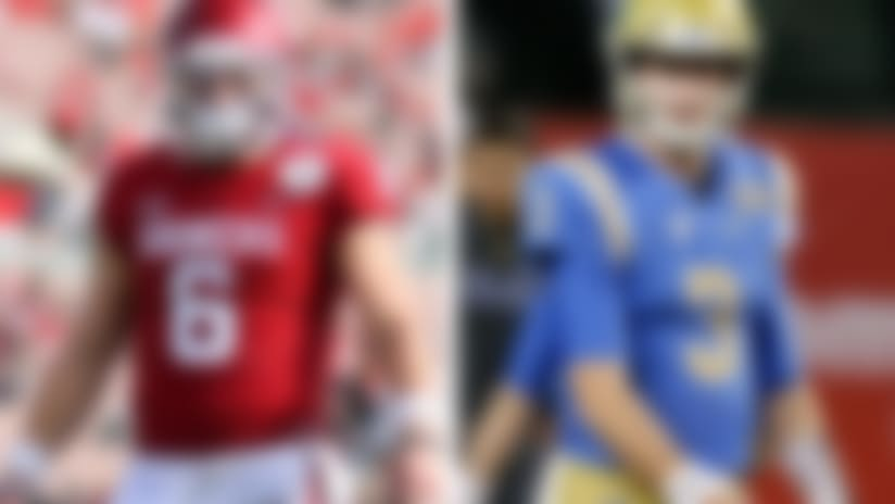A split image of Baker Mayfield and Josh Rosen.