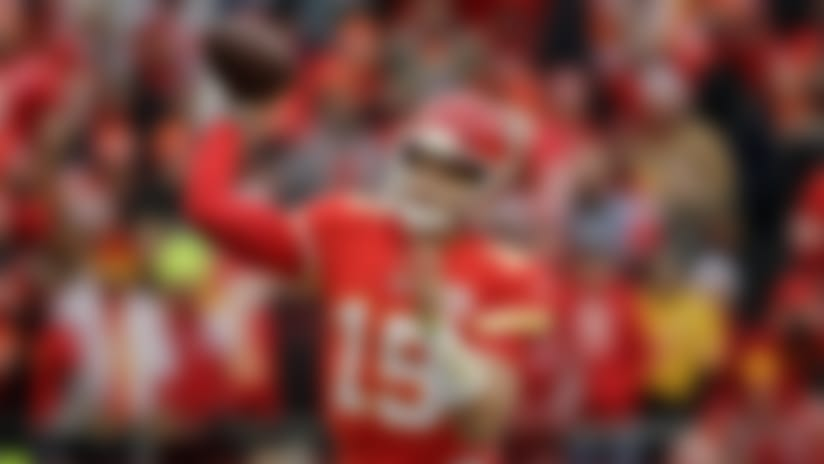 Kansas City Chiefs quarterback Patrick Mahomes (15) throws a pass during the first half of an NFL football game against the Los Angeles Chargers in Kansas City, Mo., Sunday, Dec. 29, 2019. (AP Photo/Charlie Riedel)