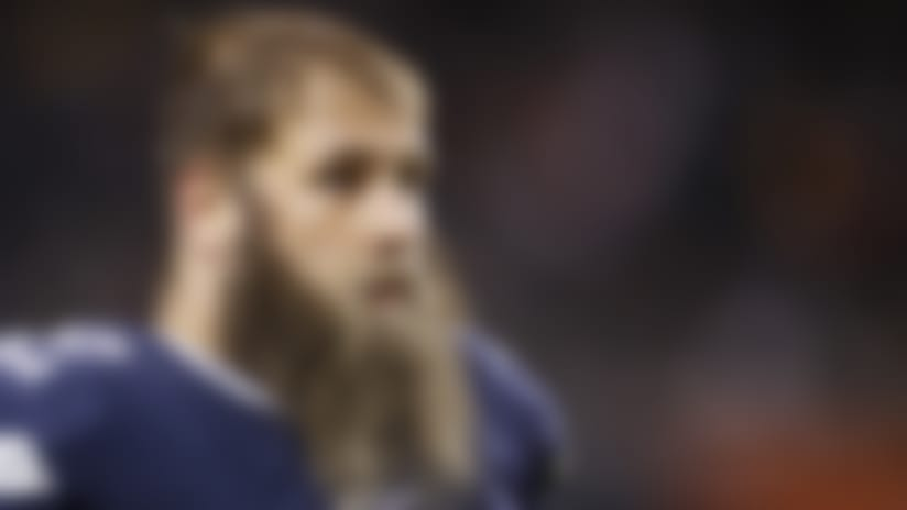 Dallas Cowboys offensive lineman Travis Frederick (72) looks on during an NFL football game against the Chicago Bears, Thursday, Dec. 5, 2019 in Chicago. The Bears defeated the Cowboys 31-24. (Joe Robbins via AP)