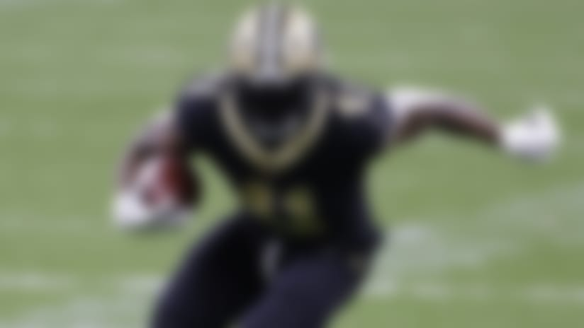 New Orleans Saints running back Alvin Kamara (41) during an NFL football game against the Atlanta Falcons, Sunday, Nov. 22, 2020, in New Orleans. (AP Photo/Tyler Kaufman)