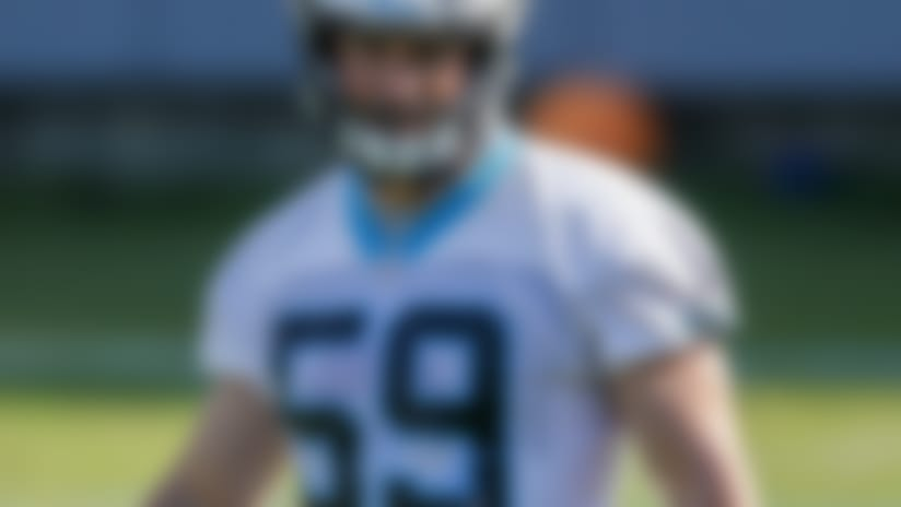 Carolina Panthers linebacker Luke Kuechly watches a drill during practice at the NFL football team's mini-camp in Charlotte, N.C., Tuesday, June 11, 2019. (AP Photo/Nell Redmond)