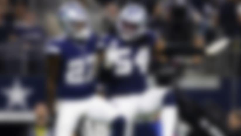 Dallas Cowboys cornerback Jourdan Lewis (27) celebrates with Dallas Cowboys middle linebacker Jaylon Smith (54) during an NFL regular season football game against the Los Angeles Rams on Sunday, Dec. 15, 2019 in Dallas. The Cowboys won, 44-21. (Ric Tapia via AP)