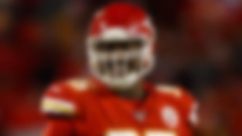 Kansas City Chiefs defensive end Chris Jones (95) celebrates during an NFL football game against the Oakland Raiders, Sunday, Dec. 1, 2019, in Kansas City, Mo. The Chiefs defeated the Raiders, 40-9. (Ryan Kang via AP)