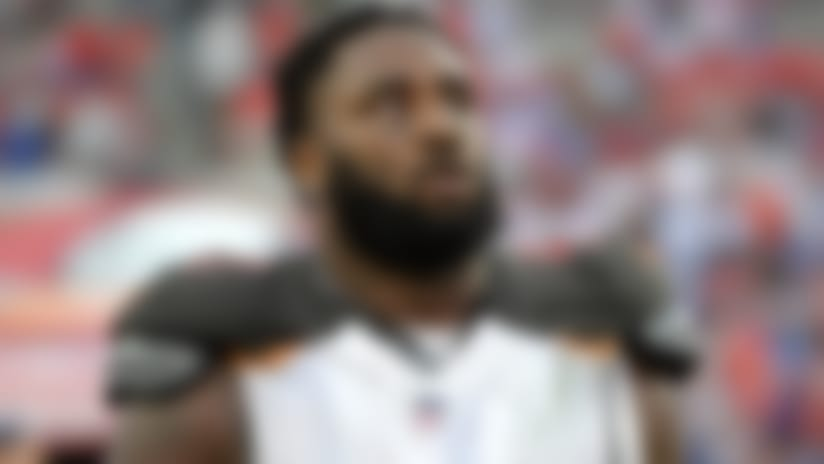 Tampa Bay Buccaneers defensive end Robert Ayers (91) walks off the field during the first half of an NFL football game against the New York Giants Sunday, Oct. 1, 2017, in Tampa, Fla. (AP Photo/Phelan M. Ebenhack)