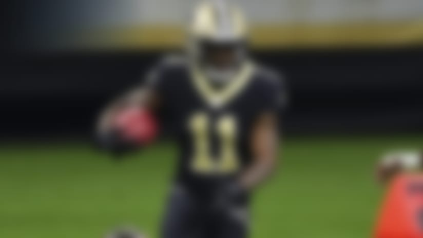 New Orleans Saints wide receiver Deonte Harris (11) runs the ball during an NFL football game against the Tampa Bay Buccaneers, Monday, Sep. 14, 2020 in New Orleans. (Logan Bowles/NFL)
