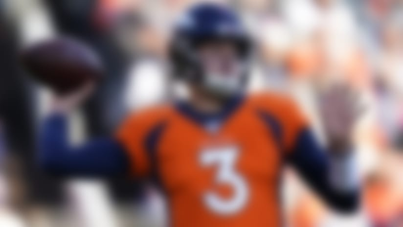 Denver Broncos quarterback Drew Lock throws a pass during the first half of an NFL football game against the Oakland Raiders, Sunday, Dec. 29, 2019, in Denver. (AP Photo/Jack Dempsey)