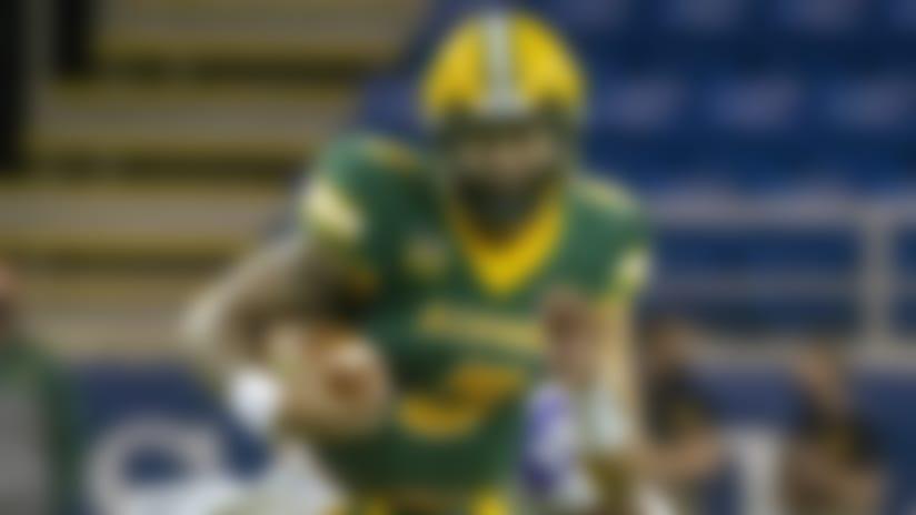 North Dakota State quarterback Trey Lance rushes against Central Arkansas in the first quarter of an NCAA college football game Saturday, Oct. 3, 2020, in Fargo, N.D. North Dakota State won 39-28. (AP Photo/Bruce Kluckhohn)