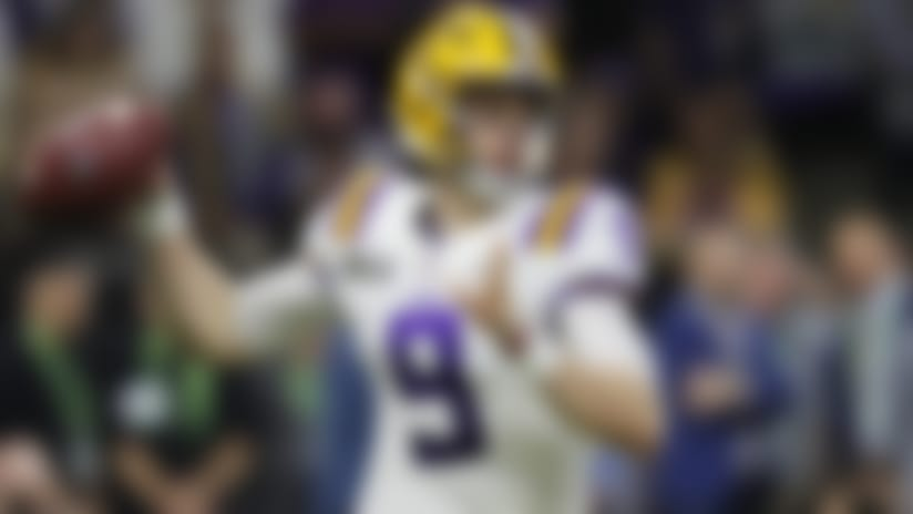 FILE - In this Jan. 13, 2020, file photo, LSU quarterback Joe Burrow throws a pass against Clemson during the second half of the NCAA College Football Playoff national championship game in New Orleans. No. 1 overall pick Burrow and the rest of the rookie class will begin preparing for their first seasons in the NFL at home instead of at minicamps and team facilities this month. (AP Photo/Gerald Herbert, File)