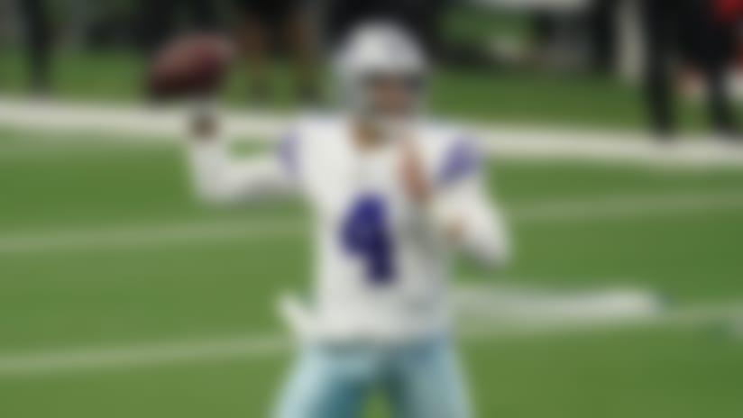 Dallas Cowboys quarterback Dak Prescott (4) throws the ball during an NFL game against the Atlanta Falcons, Sunday, Sept. 20, 2020, in Arlington, Texas. The Cowboys beat the Falcons 40-39. (Cooper Neill via AP)