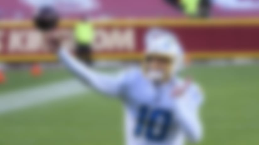 Los Angeles Chargers quarterback Justin Herbert (10) throws against the Kansas City Chiefs during an NFL football game, Sunday, Jan. 1, 2021, in Kansas City, Mo. (AP Photo/Reed Hoffmann)