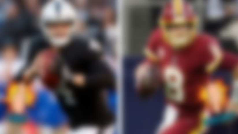 A split image of Derek Carr and Kirk Cousins for Like/Dislike.