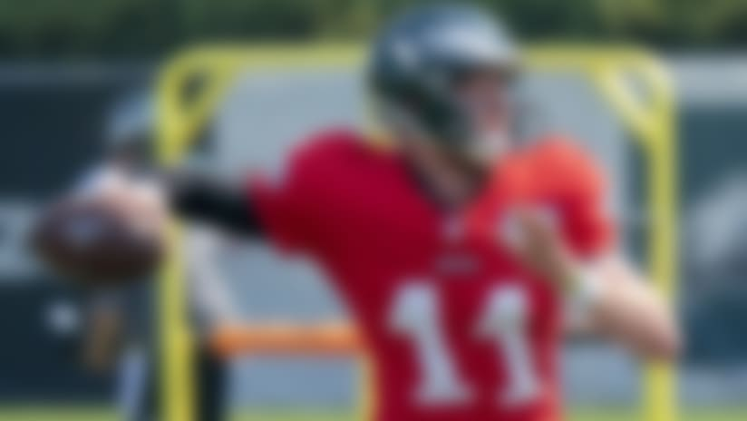 Philadelphia Eagles quarterback Carson Wentz in action during an NFL football practice, Thursday, Aug. 27, 2020, in Philadelphia. (AP Photo/Chris Szagola, Pool)
