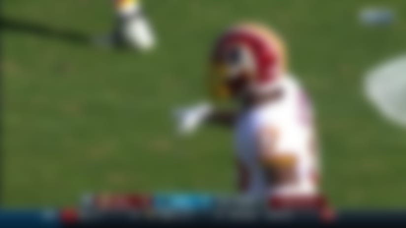 Eric Reid comes flying down the middle for HUGE sack