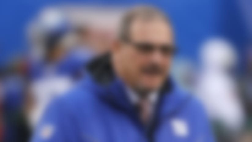 New York Giants general manager Dave Gettleman watches warm ups before an NFL football game against the Philadelphia Eagles, Sunday, Dec. 29, 2019, in East Rutherford, N.J. (AP Photo/Seth Wenig)