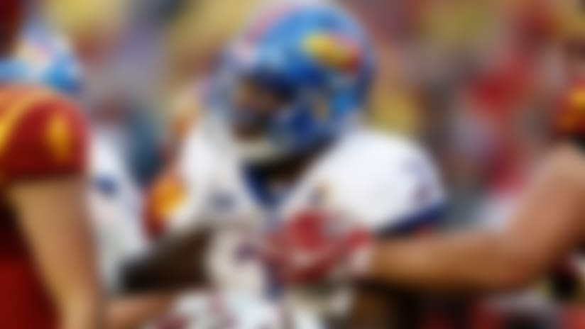 Kansas defensive end Dorance Armstrong Jr. (2) fights through a block during the second half of an NCAA college football game against Iowa State, Saturday, Oct. 14, 2017, in Ames, Iowa. (AP Photo/Charlie Neibergall)