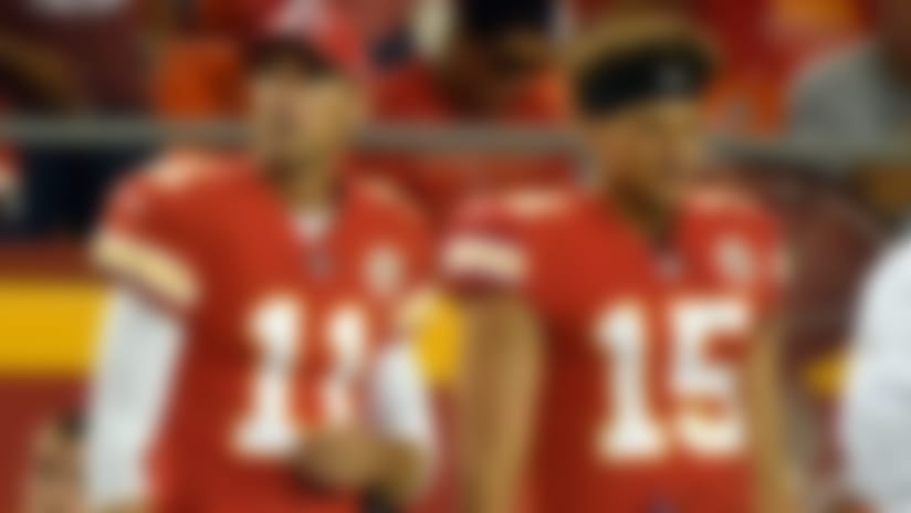 Kansas City Chiefs quarterback Alex Smith (11) and quarterback Patrick Mahomes (15) stand on the sidelines during the second half of an NFL preseason football game against the Tennessee Titans in Kansas City, Mo., Thursday, Aug. 31, 2017. (AP Photo/Ed Zurga)