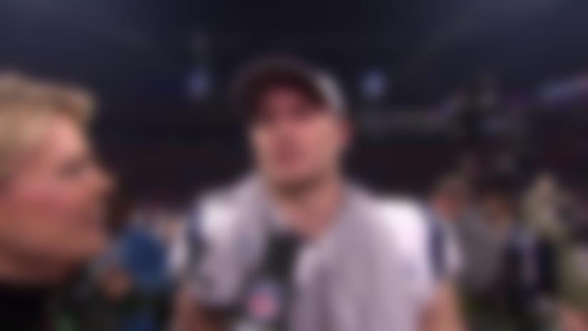 New England Patriots wide receiver Chris Hogan reacts to Patriots' Super Bowl LIII win