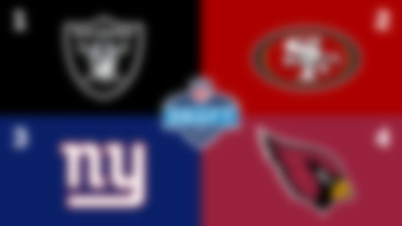 draft order with 1. Raiders 2. 49ers 3. Giants 4. Cardinals