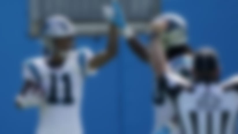 Carolina Panthers wide receiver Robby Anderson (11) celebrates after scoring against the Las Vegas Raiders during the second half of an NFL football game Sunday, Sept. 13, 2020, in Charlotte, N.C. (AP Photo/Brian Blanco)