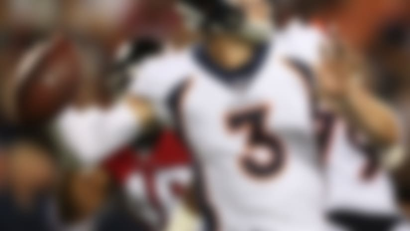 Denver Broncos quarterback Drew Lock (3) during the Pro Football Hall of Fame NFL preseason game between the Denver Broncos and Atlanta Falcons on Thursday, August. 1, 2019 in Canton, Ohio. (Ben Liebenberg/NFL)