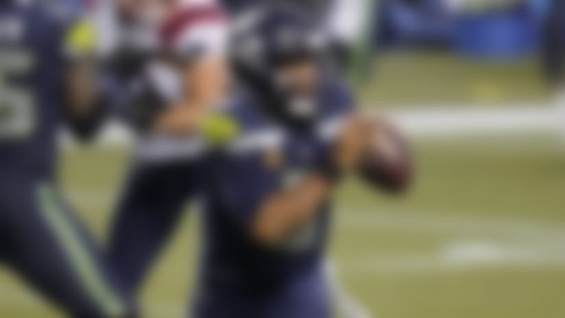 Seattle Seahawks quarterback Russell Wilson in action against the New England Patriots during an NFL football game, Sunday, Sept. 20, 2020, in Seattle. (AP Photo/Elaine Thompson)