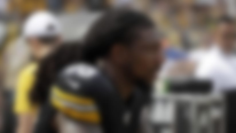 Pittsburgh Steelers outside linebacker Bud Dupree (48) sits on the bench during an NFL football game against the Seattle Seahawks, Sunday, Sept. 15, 2019, in Pittsburgh. (AP Photo/Gene J. Puskar)