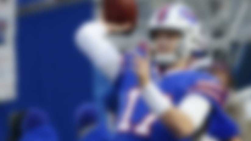Buffalo Bills quarterback Josh Allen warms-up before an NFL football game against the Miami Dolphins, Sunday, Dec. 30, 2018, in Orchard Park, N.Y. (AP Photo/Jeffrey T. Barnes)