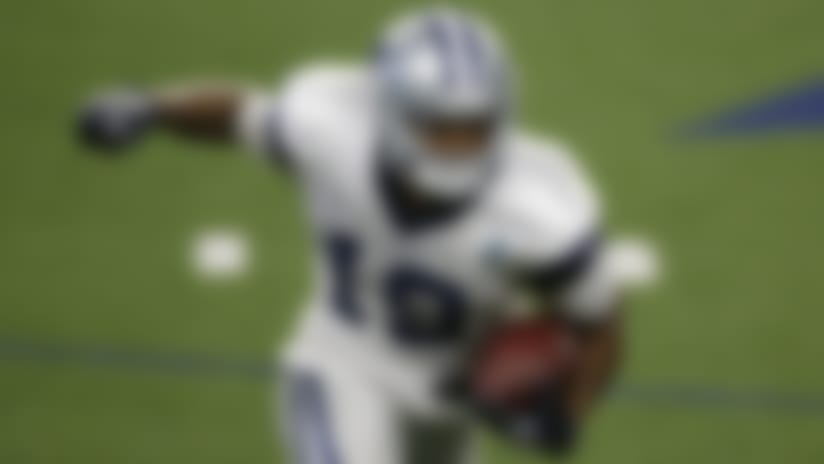 Dallas Cowboys wide receiver Amari Cooper (19) runs after a reception, during an NFL football training camp in Frisco, Texas, Sunday, Sept. 23, 2020. (AP Photo/Michael Ainsworth)
