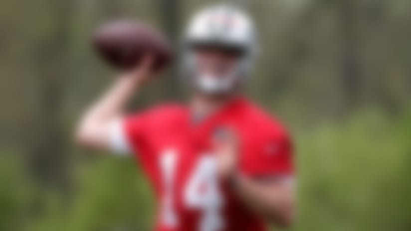 New York Jets first round pick Sam Darnold works out during NFL rookie camp, Friday, May 4, 2018, in Florham Park, N.J. (AP Photo/Julio Cortez)