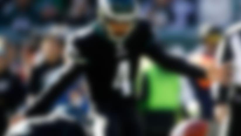 Philadelphia Eagles' Jake Elliott kicks a field goal during the first half of an NFL football game against the Chicago Bears, Sunday, Nov. 3, 2019, in Philadelphia. (AP Photo/Matt Rourke)