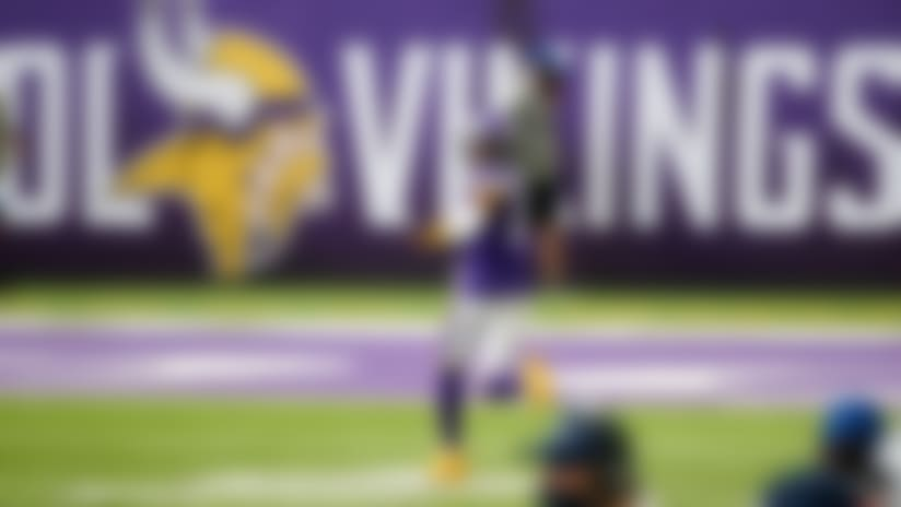 Minnesota Vikings wide receiver Justin Jefferson celebrates during a a 71-yard touchdown catch during the second half of an NFL football game against the Tennessee Titans, Sunday, Sept. 27, 2020, in Minneapolis. (AP Photo/Bruce Kluckhohn)