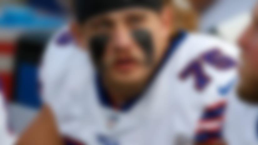Aug 26, 2018; Orchard Park, NY, USA; Buffalo Bills offensive guard Wyatt Teller (75) against the Cincinnati Bengals at New Era Field. Mandatory Credit: Timothy T. Ludwig-USA TODAY Sports