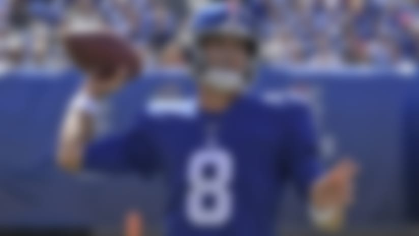 New York Giants quarterback Daniel Jones looks to throw during the first half of an NFL football game against the Washington Redskins, Sunday, Sept. 29, 2019, in East Rutherford, N.J. (AP Photo/Bill Kostroun)