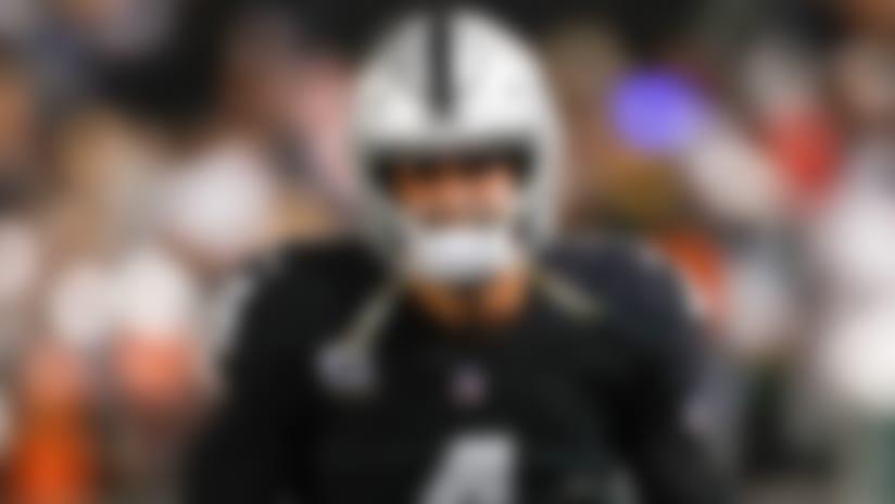 Oakland Raiders quarterback Derek Carr (4) celebrates after a touchdown during an NFL regular season game against the Denver Broncos on Monday Dec. 24, 2018 in Oakland, Calif. (Ryan Kang/NFL)