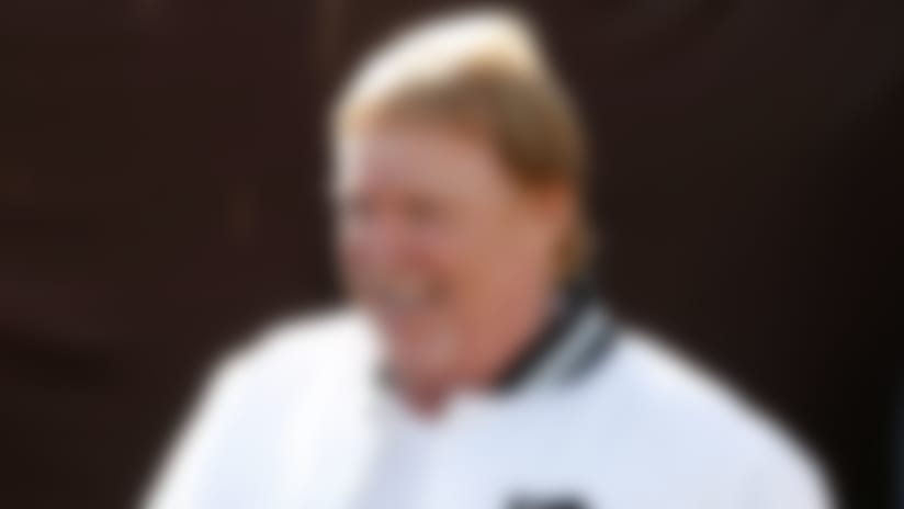 Oakland Raiders owner Mark Davis smiles before an NFL football game between the Raiders and the Tennessee Titans in Oakland, Calif., Sunday, Dec. 8, 2019. (AP Photo/D. Ross Cameron)